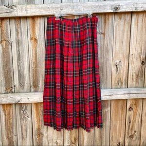 Vintage GAP Red Tartan Plaid Pleated Midi Skirt